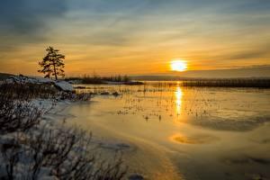 Обои Рассветы и закаты Зима Озеро Небо Солнце Природа фото