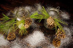 Обои Сахарная пудра Банка Доски Шишки Ветки Природа фото