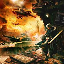 Обои World in Conflict Танки Вертолеты Солдаты Автоматы Русские Игры фото