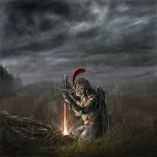Обои Рыцарь Средневековье Дождь Мечи Доспехи Фэнтези фото