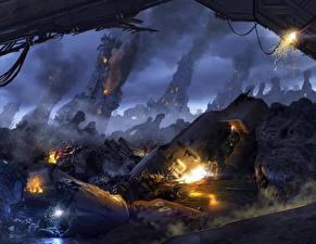 Обои Апокалипсис Развалины Aliens Colonial Marine Игры Фэнтези фото