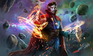 Обои Волшебство Маг волшебник Мужчины Доктор Стрэндж 2016 Камбербэтч Бенедикт Кино Фэнтези Знаменитости