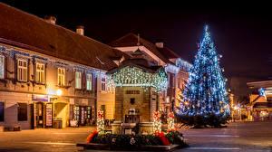 Обои Новый год Дома Загреб Улица Ночь Елка Гирлянда Samobor Города фото