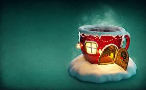 Картинки Рождество Праздники Здания Кружка Окно Двери Пары