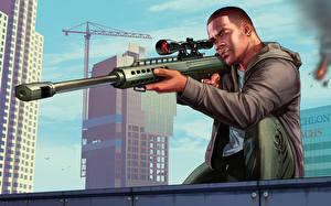 Обои GTA 5 Снайперская винтовка Мужчины Векторная графика Негр Снайперы Franklin Игры фото