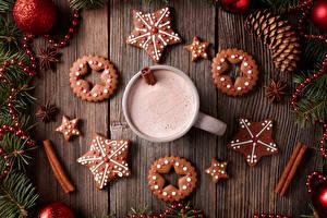 Фотография Новый год Напитки Печенье Какао напиток Доски Дизайн Шишки Звездочки Кружка Еда