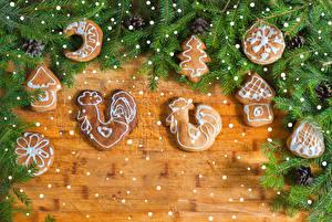 Картинки Новый год Печенье Петух Доски Ветки Дизайн Еда