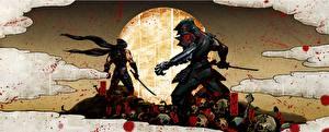 Обои Воители Черепа Ниндзя Двое Мечи Кровь Yaiba Ninja Gaiden Z Игры Фэнтези фото