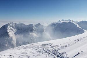 Фотография Австрия Зимние Горы Альп Снегу Природа