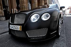 Картинка Bentley Крупным планом Черный Фары Роскошные continental mansory Автомобили