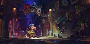 Обои Hearthstone: Heroes of Warcraft Воители Орки Панды Улица Уличные фонари Ночь Gadgetzan Игры Фэнтези фото