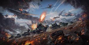 Обои War Thunder Танки САУ Истребители Война Выстрел Русские Игры фото