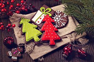 Картинки Новый год Печенье Дизайн Елка Еда