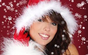 Фотографии Новый год Шатенка Снежинки Лицо Девушки