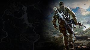 Картинка Sniper Мужчины Снайперская винтовка Солдаты Снайперы Ghost Warrior 3 Игры