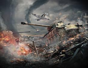 Обои War Thunder Танки Истребители Война Немецкий Panther Игры фото