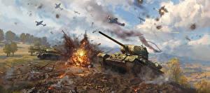 Обои War Thunder Танки Взрывы Война Истребители Русские Т-34-85 Игры Игры фото