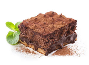 Фотография Пирожное Шоколад Торты Кусочек Какао порошок Еда