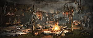 Обои Far Cry Огонь Far Cry Primal Костер Shaman Hut Игры фото