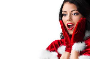 Фото Рождество Белый фон Брюнетка Руки Перчатки Лицо Удивление Девушки