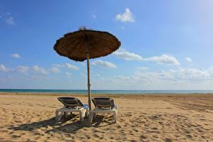Фото Небо Лето Зонт Пляж Лежаки Природа
