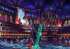 Обои Средневековье Рыцарь Храмы Доспехи Мечи Фэнтези фото