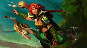 Картинки DOTA 2 Windrunner Воители Лучники Рыжая Игры Фэнтези Девушки