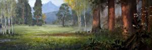 Обои Far Cry Мамонты Олени Луга Far Cry Primal Деревья Игры фото