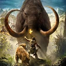 Обои Far Cry Мамонты Воители Far Cry Primal Факел Игры Животные