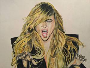 Фотография Рисованные Paulina Rubio Блондинка Волосы Крик Музыка