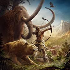 Обои Far Cry Лучники Слоны Мамонты Far Cry Primal Игры Животные фото
