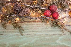 Обои Новый год Праздники Шарики Ветки Гирлянда Шишки Шаблон поздравительной открытки фото