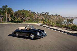 Картинки Porsche Ретро Кабриолета Черный Металлик 1958-59 356A 1600 Super Cabriolet by Reutter авто