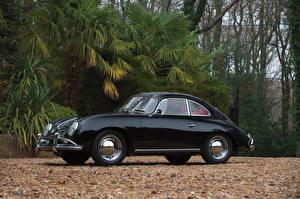 Картинка Porsche Винтаж Черный Металлик 1957-59 356A 1600 Super Coupe by Reutter Автомобили