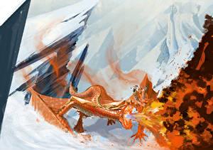 Обои Драконы Огонь Рыжий Снег Фэнтези фото
