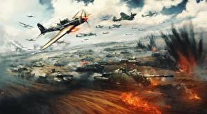 Обои War Thunder Танки САУ Истребители Взрывы Война Русские Игры фото