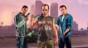 Обои GTA 5 Мужчины Пистолеты Автоматы Трое 3 Негр Franklin, Trevor, Michael Игры фото