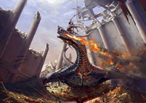 Обои Битвы Драконы Рыцарь Огонь Фэнтези фото