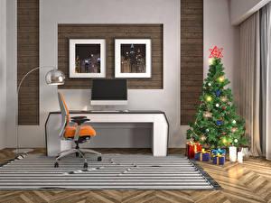 Обои Новый год Интерьер Елка Подарки Кресло 3D Графика фото