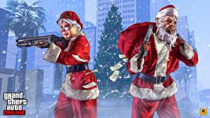 Картинки GTA 5 Новый год Винтовки Пистолеты Ружьё Маски Две Дед Мороз Шапки компьютерная игра