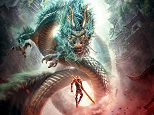 Картинки Воин Драконы Обезьяны Китайские Monkey King Hero Is Back 2015 Фэнтези