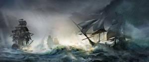 Фотография Assassin's Creed 3 Корабли Парусные Волны
