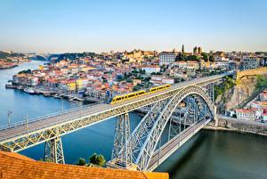 Обои Португалия Дома Реки Мосты Порту Водный канал Города фото