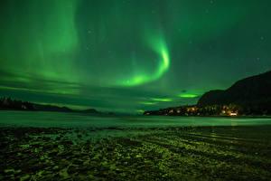 Фотография Америка Небо Звезды Побережье Аляска Полярное сияние Ночь Juneau