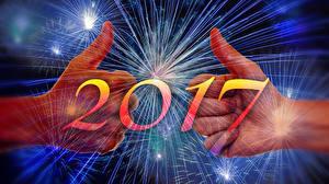 Фотографии Новый год Пальцы Салют 2017 Руки