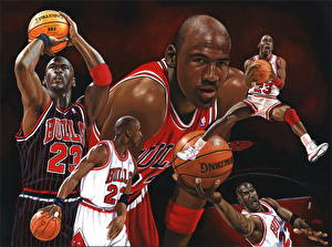 Обои Баскетбол Негр Мяч Лысый Michael Jordan Спорт фото