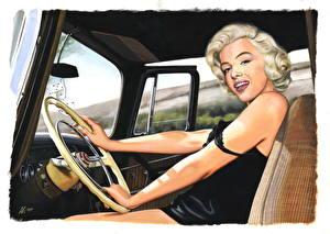 Обои Marilyn Monroe Рисованные Блондинок Рулевое колесо Девушки