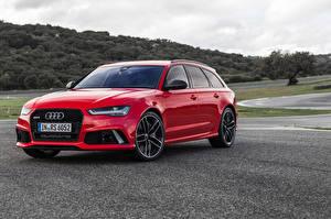 Картинка Audi Красный Универсал Avant RS 6 автомобиль