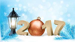 Картинка Рождество 2017 Шар Ветки Снежинки Фонарь