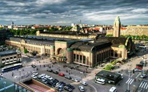 Картинки Здания Финляндия Хельсинки Сверху HDRI